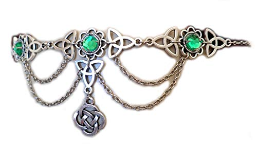 Moon Maiden Jewelry Celtic Triquetra Trinity Knot Draping Chain Headpiece BRIGHT GREEN ()