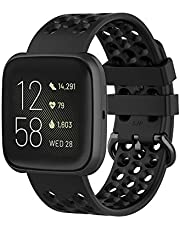 TERSELY Sport Band Strap for Fitbit Versa 2/1/Lite, Soft TPU Silicone Metal Buckle Replacement Bands Fitness Sports Bracelet Strap for Fitbit Versa 2/ Versa/Versa Lite Tracker