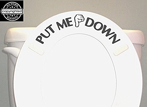 PUT ME DOWN Decal Toilet Bathroom Seat Vinyl Sticker Sign Reminder for Him (Come with glowindark Monster switchplate decal) Stickerciti Brand BERRYZILLA