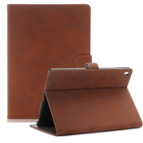 Price comparison product image iPad Pro 9.7 Case - Stand Folio Case Cover for Apple iPad Pro 9.7 Inch 2016, with Multiple Viewing Angles,Stand Folio Case Cover for Apple iPad Pro 9.7 Inch 2016, with Multiple View (Dark Brown)