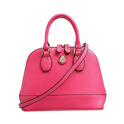 FTSUCQ Womens Leather Shell Shoulder Handbags Messenger Pink Tote Bags S