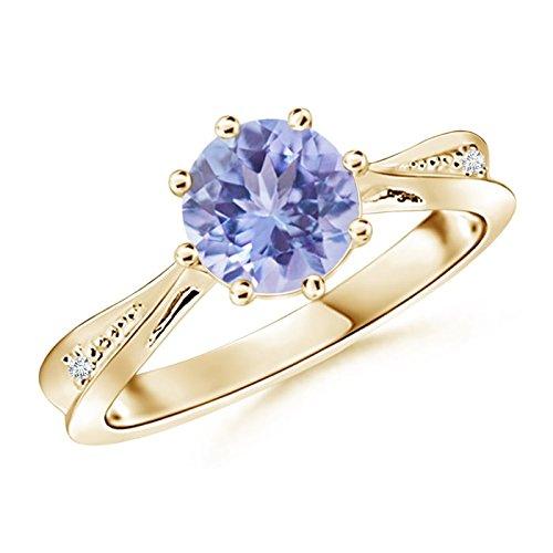 Tapered Shank Tanzanite Solitaire Ring with Diamonds in 14K Yellow Gold (7mm Tanzanite)