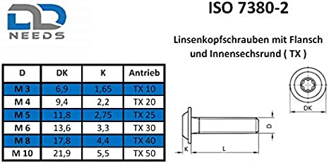 D2D PU: 20 pi/èces Vis /à t/ête plate avec bride M8 x 35 mm avec TX hexalobulaire apr/ès ISO 7380-2 en acier inoxydable A2 V2A vis /à collier