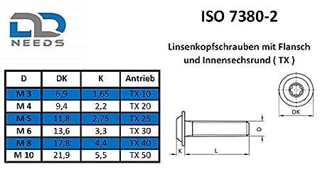 D2D VPE: 4 St/ück Flachkopfschrauben mit Flansch M5 x 40 mm mit Innensechsrund TX nach ISO 7380-2 aus Edelstahl A2 V2A Bundschraube