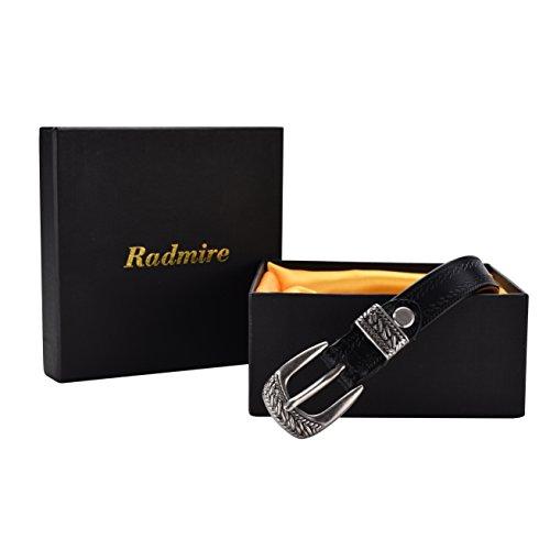 Radmire Skinny Vintage Leather Belt for Women Fashion Thin Belt 3/4 Inch Wide