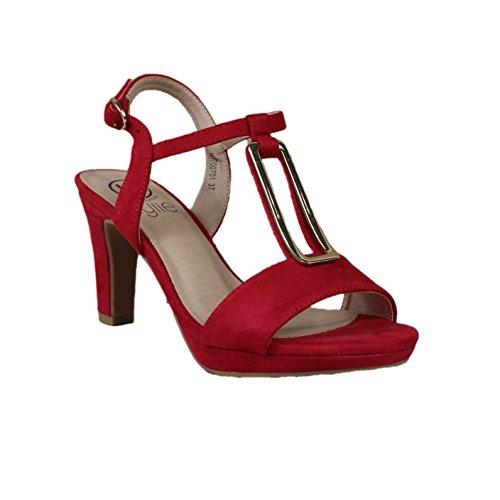 la cuña el tobillo mediante Rojo 5 pulsera rojo metálico en en Sandalia empeine el 5 cm Detalle hebilla en Cierre color Altura de AqwgFg