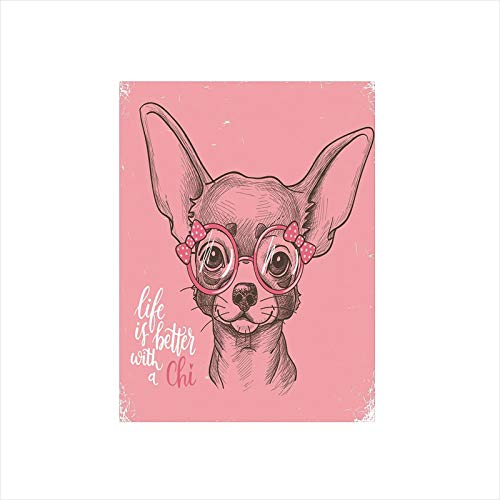 Decorative Privacy Window Film/Girl Chihuahua Sketch Illustration with Quote Fashion Glasses Ribbons Puppy Decorative/No-Glue Self Static Cling for Home Bedroom Bathroom Kitchen Office Decor Pale Pink