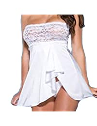 Women Lingerie Susenstone Wrap Chest Tube top Lace Dress Nightwear +G-string