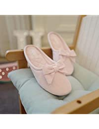 ZYGAJ Bow Candy Color Cotton Home Slippers Women's Shoes Slippers Simple Stripes Bedroom Slippers