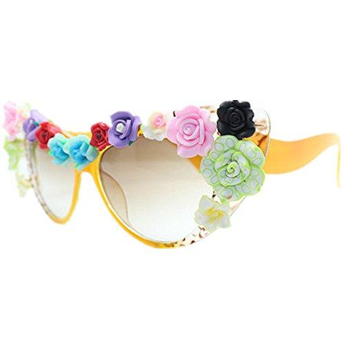 yeux la lunettes pour femmes de vacances protection chat fleur plates en la miroir de loisirs polarisées de UV Lentilles aux colorées Lunettes main d'été adapté plage des soleil des conduite soleil ZHznw8qB