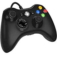 Xbox 360 Wired Controller for Microsoft Xbox 360, Game Controller with Dual-Vibration Turbo for Xbox 360/360 Slim and PC Windows 7,8,10 (Black)