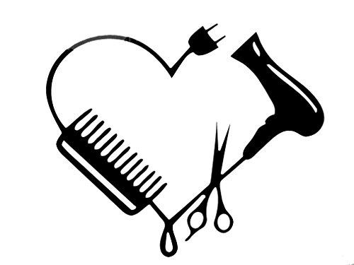 Blow Dryer Scissors Comb Heart Car Wall Decal Sticker 75124 7.5