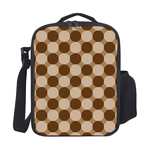 SARA NELL Kids Lunch Backpack Lunch Box Polka Dot Geometric Khaki Lunch Bag Large Lunch Boxes Cooler Meal Prep Lunch Tote With Shoulder Strap For Boys Girls Teens Women Adults