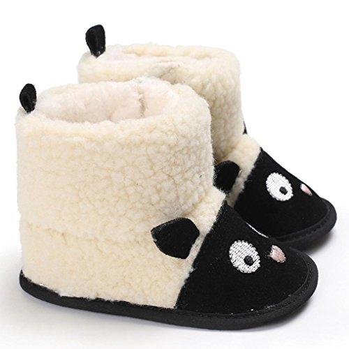 Clode® Nette Jungen Mädchen Baby weiche alleinige Schnee Aufladungen weiche Krippe Kleinkind Schuhe Schwarz