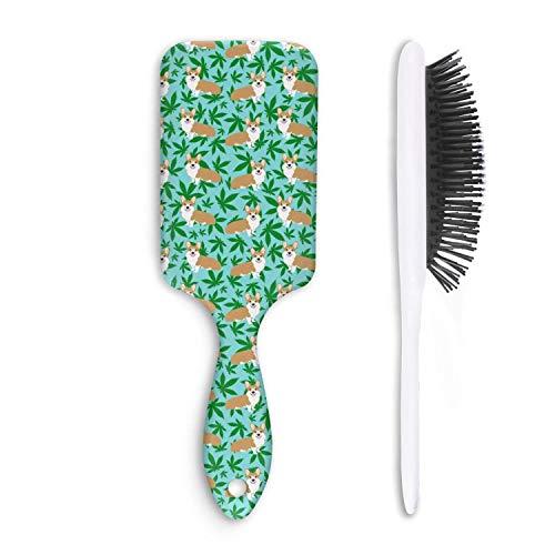 Zpnew Cannabis leaf dog blue Style Perfect Hair Brush Detangler for All Hair Types ()