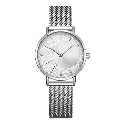BEWITCHYU Practical Wristwatches Women 's Studded Ultra-Thin 7Mm Quartz Watch 30Mm Stainless Steel Mesh Belt Simple Fashion Waterproof Decorative Watch BraceletSilver