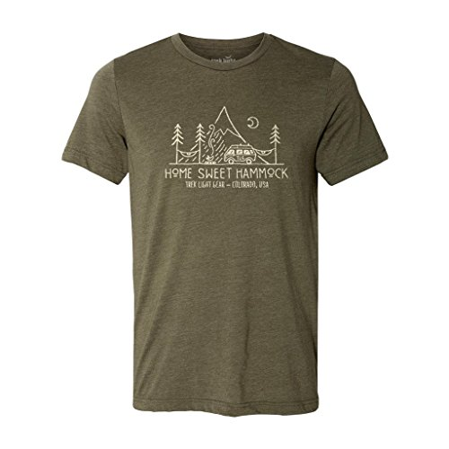 Home Sweet Hammock Shirt - David Rollyn Art - Super Soft T-Shirt For Hammockers, Campers, Hikers, Van Life & Lovers Of The Good Life {Olive Green - - The Apparel Life Sweet
