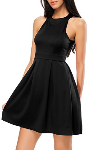Bealatt Swing Dress Sleeveless Halter Neck Dress Tight A-Line Dress for Women Summer(Black L)