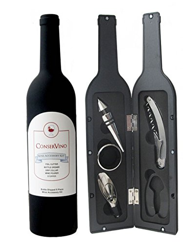 ConserVino 5 Piece Wine Gift Set Bottle Shaped Deluxe Accessory Kit Novelty Hostess Tool Kit Christmas Holiday Gift Bottle Opener Corkscrew Foil Cutter Pourer Stopper Drip Ring Collar Bar Set Supplies
