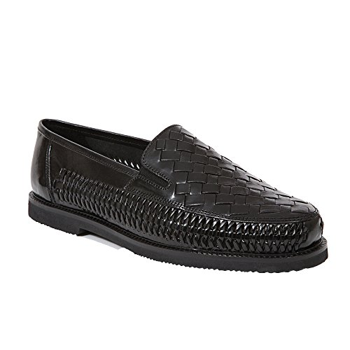 Deer Stags Men's Tijuana Black Leather 9 M - Woven Loafer Shoe Leather