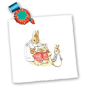 3dRose qs_101812_1 Vintage Drawing from Peter Rabbit Story Quilt Square, 10 by 10-Inch
