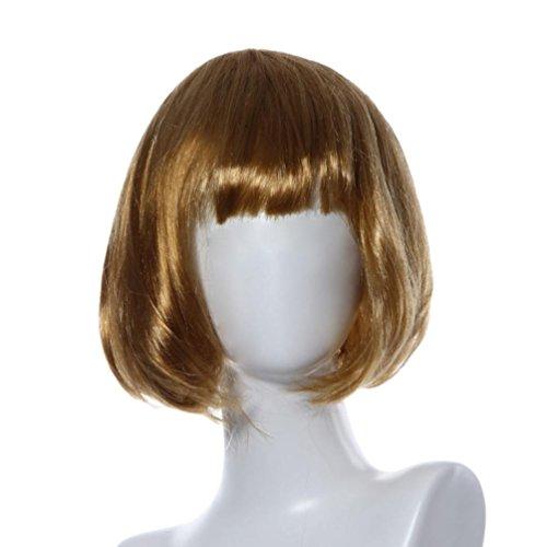 DEESEE(TM) Masquerade Small Roll Bang Short Straight Hair Wig cosplay wig (gold) (50s Makeup And Hair)