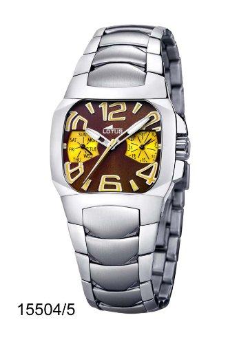 cbf35046e735 Lotus 15504-5 - Reloj analógico de mujer de cuarzo con correa de acero  inoxidable plateada - sumergible a 50 metros  Amazon.es  Relojes