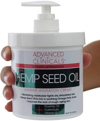 Advanced Clinicals Hemp Seed Lotion. Hemp seed oil cream for dry, rough skin with Rosehip Oil, and Vitamin E. Large spa size 16oz cream with pump. (16oz)
