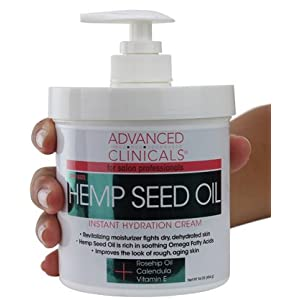 Advanced Clinicals Hemp Seed Lotion. Hemp seed oil cream for dry, rough skin with Rosehip Oil, and Vitamin E. Large spa…