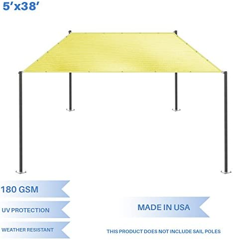 E K Sunrise 5 x 38 Sun Shade Sail- Canary Yellow Straight Edge Rectangle UV Block Durable Awning Perfect for Canopy Outdoor Garden Backyard-180GSM-Customized