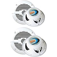 2) BOSS MR50W 5.25 150W + 2) MR60W 6.5 200W 2-Way Marine/Boat Coaxial Speakers