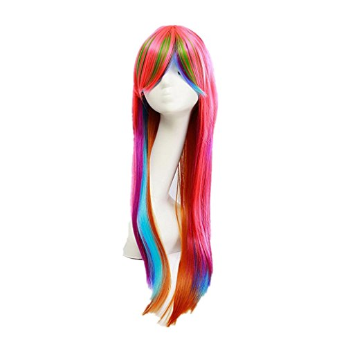 Women Long Straight Synthetic Hair Full Wigs For Cosplay Costume Party Willsa