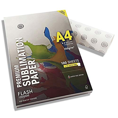 Mundi Sublimation Paper Flash 100gsm AAA (A4-8,3 x 11,7) Super Fast Drying 10 Extra Free