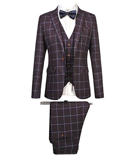 MOGU Mens Blazer Jacket Tux Vest & Trousers 3 Piece Suit US Size 34(Tag Asian Size XL) (Tux Coat)