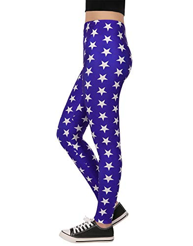 (HDE Superhero Blue Star Leggings for Women Digital Print America Workout)