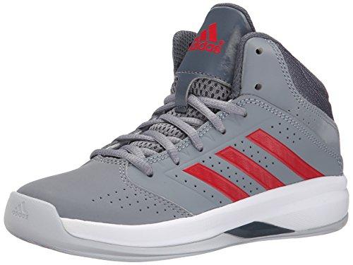 adidas Performance Isolation 2 K Basketball Shoe (Little Kid/Big Kid), Grey/Grey Onix/Scarlet Red, 1 M US Little Kid