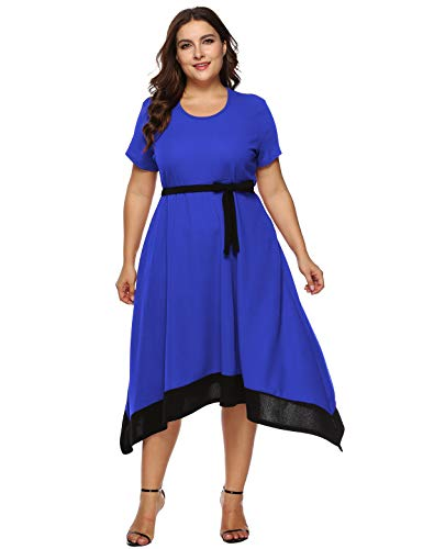 (Jhichic Women's Plus Size Color Block Irregular Hem Empire Waist Wrap Short Sleeve Casual Party Midi Dress (Blue,)