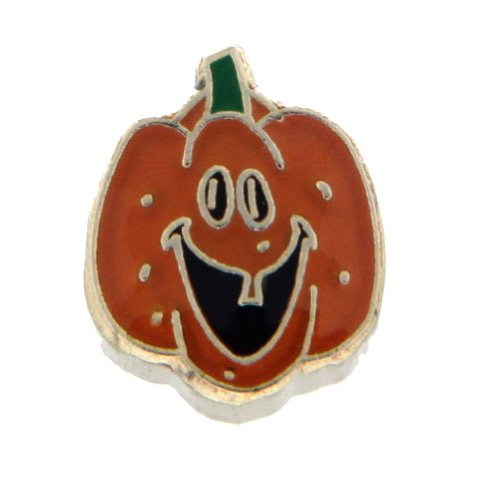 Smiling Jack O Lantern Floating Locket Charm]()