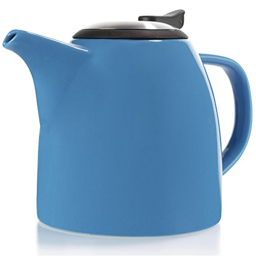 Tealyra - Drago Ceramic Teapot Blue - 37-ounce (4-6 cups) - Large Stylish Teapot with Stainless Steel Lid - Extra-Fine Infuser To Brew Loose Leaf Tea - Dishwasher-safe - BPA and Leed-Free - 1100ml
