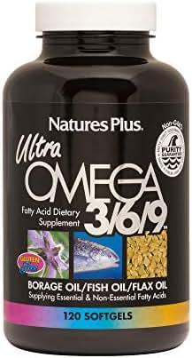 NaturesPlus Ultra Omega 3 6 9-1200 mg, 120 Softgels - Borage Oil, Fish Oil, Flax Oil Supplement, Promotes Heart Health, Mood Enhancer, Anti-Inflammatory - Gluten-Free - 120 Servings