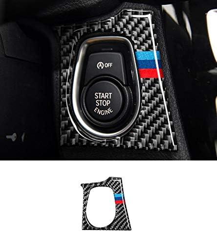 GZXinWei インテリアカーボンファイバー 自動車スタートストップ エンジンボタンカバー ステッカー カースタイリング