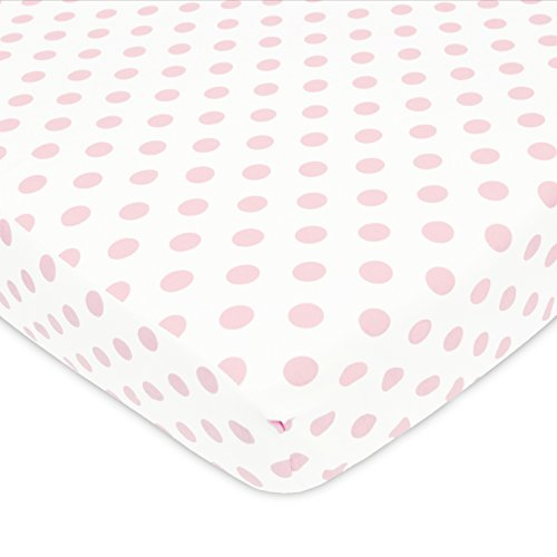 - American Baby Company Newly Improved 100% Cotton Flannel Fitted Crib Sheet, White with Pink Dot, for Girls