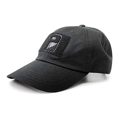 Pull Patch Tactical Hat | Authentic Classics Dad Cap with Buckle Closure | 2x3 in Hook and Loop Surface to Attach Morale Patches | 6 Panel | Black | Free US Flag Patch Included