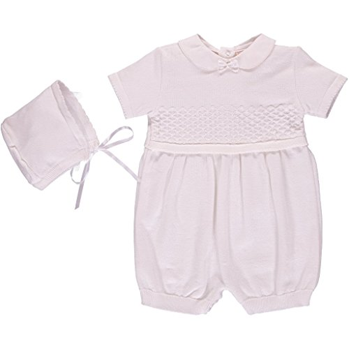 Carriage Boutique Baby Boy Classic White Knit Shortall w Bonnet - Baptism, ()