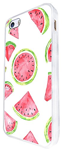 1050 - Cool Fun Cute Watermelon Love Food Fruit Summer Doodle Kawaii Art Trend Blogger Pink Red Green Design iphone SE - 2016 Coque Fashion Trend Case Coque Protection Cover plastique et métal - Blanc