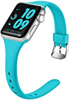 Laffav Slim Band Compatible with Apple Watch 40mm 38mm for Women Waterproof Durable Soft Silicone Sport Replacement Strap...