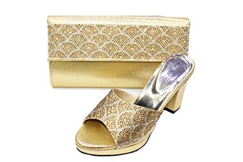 Wear & Walk UK W & W Mujeres Señoras Noche a juego bolsa y zapatos comodidad de tacón sandalias diamante boda fiesta zapatos (San 2032) dorado