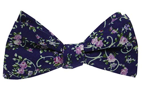 - Mens Floral Self Tie Bowties-100% Cotton Butterfly Bow Ties-Various Colors (Navy Blue with Mint and Orchid)