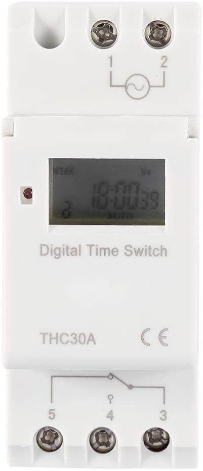 THC Nuevo temporizador programable Interruptor de tiempo Relé digital LCD DIN 30A RAIL AC-DC 12/24/110 / 220V(220V)