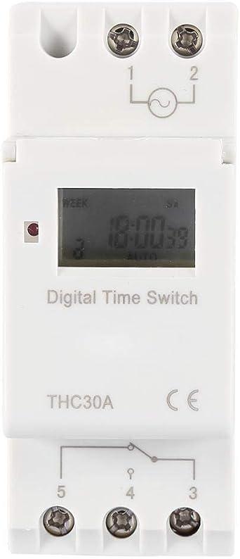 12V Commutateur de Commande de Temps /Électronique Programmable THC 30A pour Rail DIN Commutateur de Minuterie Num/érique